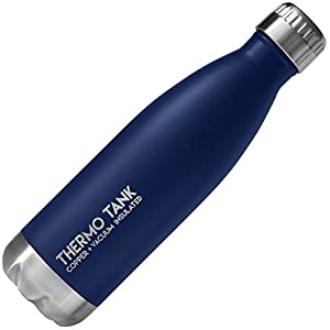 Thermo Tank Insulated Stainless Steel Water Bottle - Ice Cold 36 Hours! Vacuum + Copper Technology - 17 Ounce (Midnight Navy, 17oz)