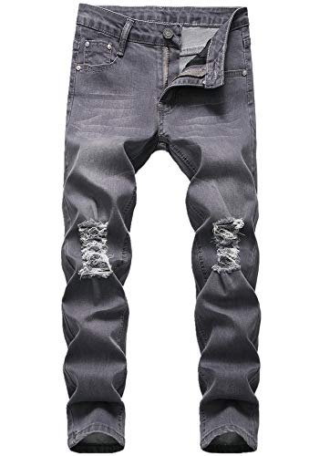 - Boy's Grey Skinny Fit Ripped Destroyed Distressed Stretch Fashion Denim Jeans Pants 048