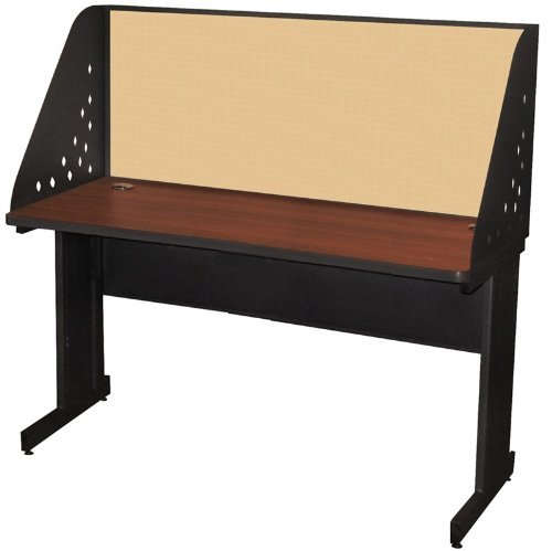 Pronto Pronto School Training Table with Carrel and Modesty Panel Back, 60W x 30D - Dark Neutral Finish and Beryl Fabric