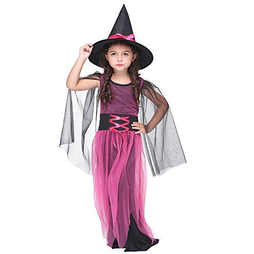 Ytwysj Childrens Fancy Party Cosplay Halloween Sorceress Little Witch Costume 2pcs Girls Sheer Magic Dress ()