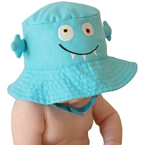 Huggalugs Children's Teal Monster Sun Hat UPF 50+ -