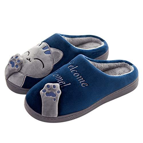 Sol Femmes Intérieur Hiver Chambre Pantoufles Deep Lovers Hommes Chat Chaussures Couples De Chaud 01 Cartoon Blue Donad Eq0RwOO