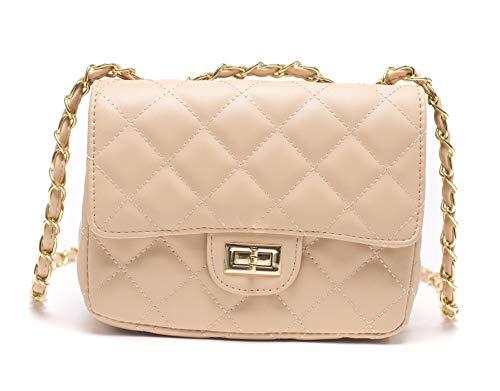 ILISHOP Women's Fashion Shoulder Bag Quilting Chain Cross Korean Ladies Handbag (Apricot)