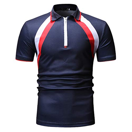 Fashion Men's Business Breathable Golf Polo Shirt,MmNote Zipper Textured Design Casual Training Athletic Short Sleeve ()