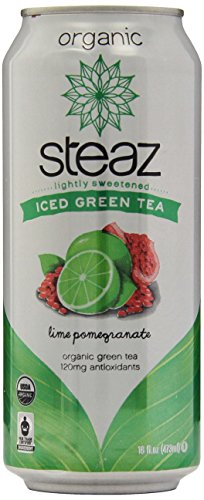 Steaz Iced Tea Can, Lime Green Pomegranate, Gluten Free, 16-ounces (Pack of12)
