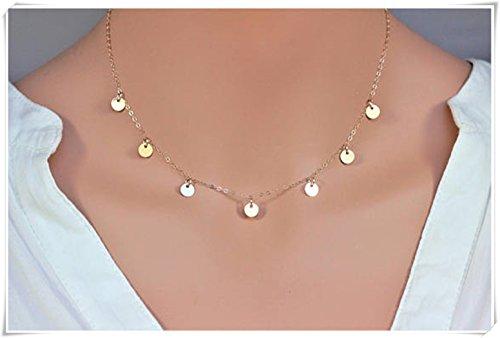 Gold circle necklace - Gold disc choker - Coin Disc Necklace - Gold coin necklace-14K Gold Filled