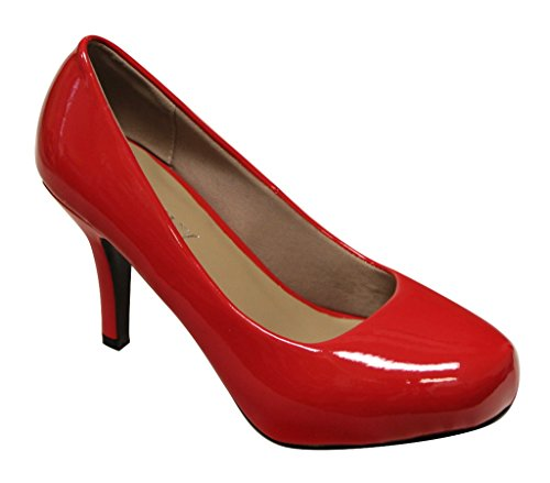 Image of Delicacy Riley-74 Women's Round Toe Slip on Patent Pumps Stilettos Shoes