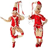 16'' Gingerbread Posable Elf Set of 2 - Peppermint Kitchen 3702378