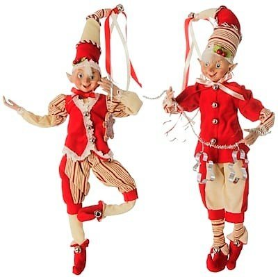 (Large Posable Red and White Peppermint Stripe Elf Christmas Decorations, 16 Inch, Set of)