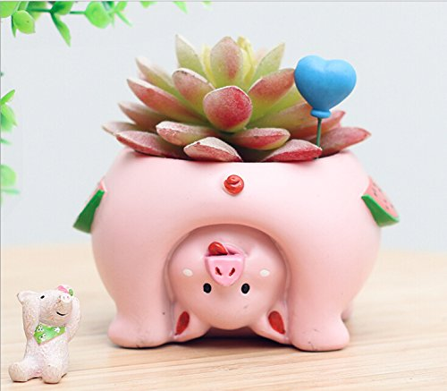 Youfui Cute Dog Flowerpot Animal Resin Succulent Planter Desk Mini Ornament (Pig)