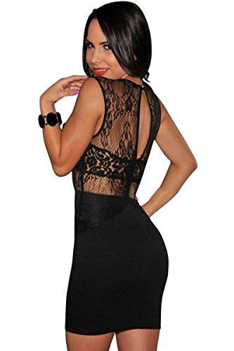 Ladies nuovo, lustrini e pizzo nero vestito da sera Club Wear-Vestito estivo, taglia 10-12
