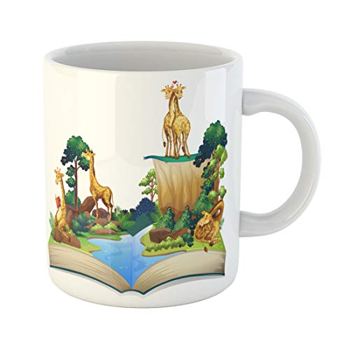 Semtomn Funny Coffee Mug Habitat Book of Giraffes Living By the River Jungle 11 Oz Ceramic Coffee Mugs Tea Cup Best Gift Or Souvenir ()
