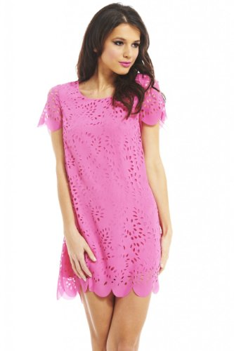 AX Paris Laser Cut Out Shift Dress(Pink, Size:6)