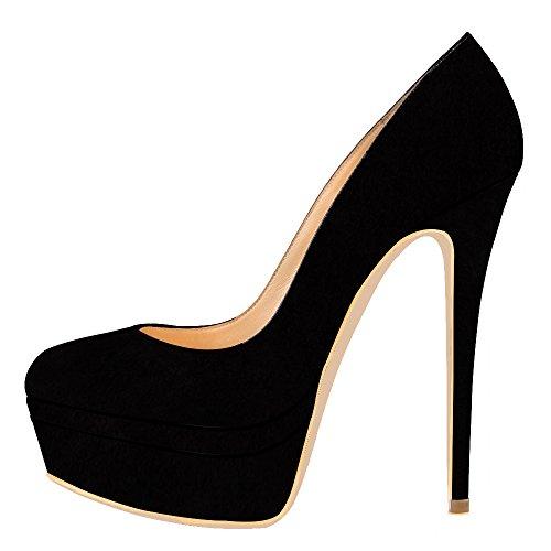 chaussures AOOAR Wildleder compensées femme Schwarz HqqBd
