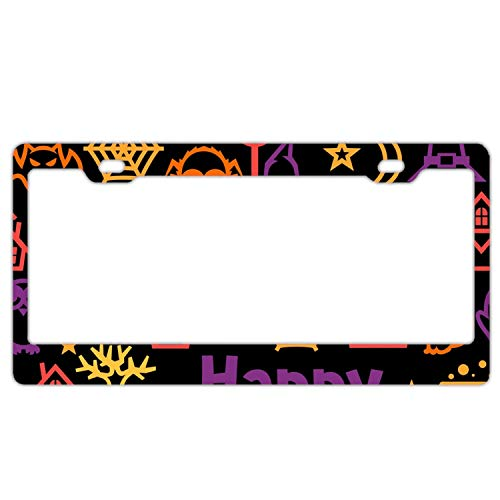 KSLIDS Happy Halloween Custom License Plate Frame Stainless Steel Frame with 4 holes-12 x6