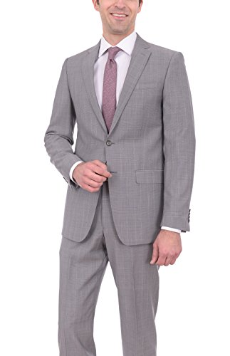 Elie Tahari Slim Fit Light Gray Plaid Two Button Wool Suit