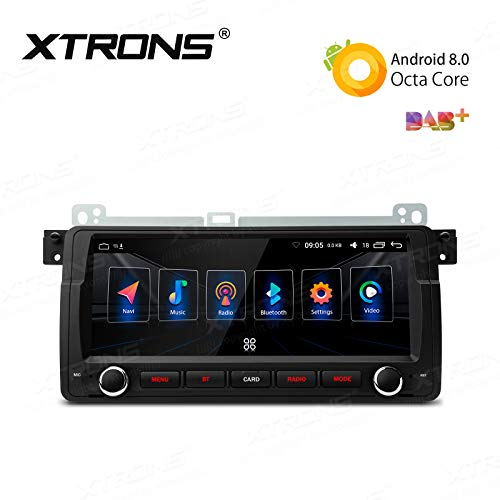 8.8in Rear Support - XTRONS 8.8 inch Android 8.0 Octa-Core 4G+32G Car Stereo GPS Navigator Radio WiFi Bluetooth 5.0 Supports SWC DVR Backup Camera OBD for BMW E46