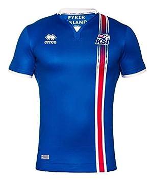 Camiseta de fútbol de Islandia Euro 2016, réplica, azul/blanco: Amazon.es: Deportes y aire libre