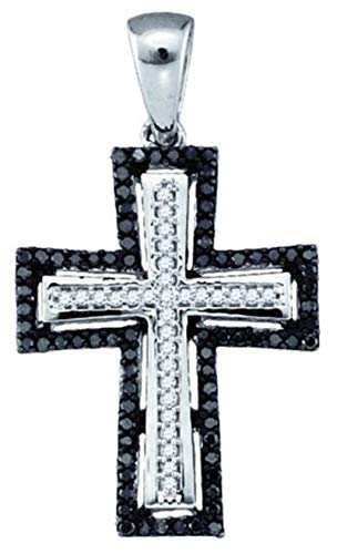 Aienid 10Kt White Gold 0.25ct Black Diamond Cross Pendant Necklace For Ladies