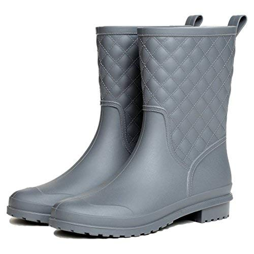 Litfun Womens Black Mid Calf Rain Boots Outdoor Work Waterproof Garden Booties Wide Calf Rain Shoes Boot Mid Calf Boots