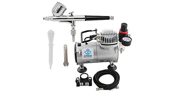 Amazon.com: HJLWST OPHIR 110V,220V Dual Action Airbrush Compressor Kit for Airbrushing Tattoo Hobby Cake Decoration , 110v: Sports & Outdoors