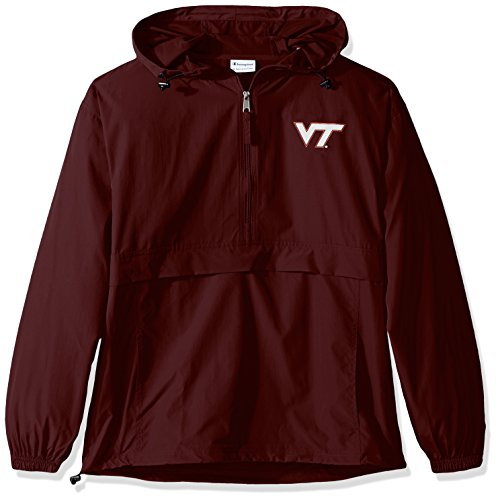 Champion NCAA Men's Half Zip Front Pocket Packable Jacket Virginia Tech Hokies Large (Tech Windbreaker)