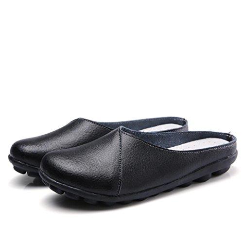 Mode Slip Conduite Pantoufle Tongs Sur Mocassins Ansenesna De L'été Casual Chaussures Femme Noir Été Cuir En wPanzqXT