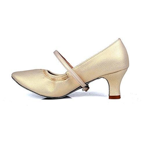 YFF Womens Latin Tango Shoes Ballroom 7 cm und 5 cm 5cm heels gold
