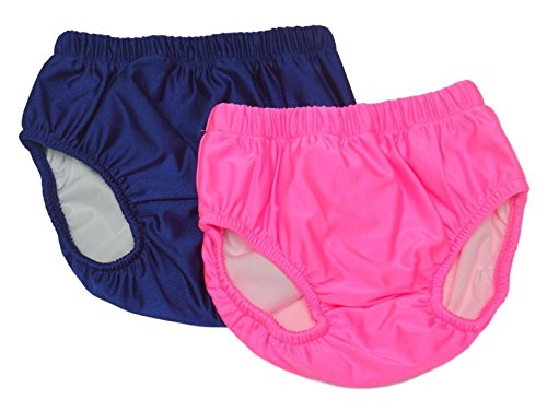 My Pool Pal Big Girls' 2 Pack Swim Brief/Diaper Cover, Pink/Navy, Small