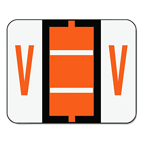 Smead BCCR Bar-Style Alphabetic Color-Coded Labels, Letter V, Dark Orange/White Bars, 500 Labels per Roll (67092)