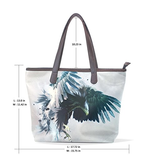 Shopping Sacs Impression En Pour D'eagle Épaule Wo Sac Cuir Pu Femme À Main Simple Fourre D'art Deyya Grand tout 7waOH