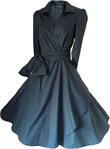 look for the stars - Robe - Portefeuille - Uni - Manches 3/4 - Femme -  gris - 44
