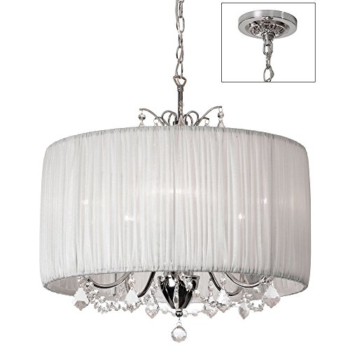 5 Light Crystal Chandelier with Oyster Pleated Drum White Shade Dia 20
