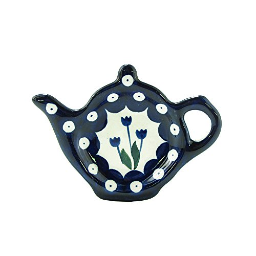 Polish Pottery Handmade Teapot Teabag Holder Traditional Stoneware Pattern 766-377Z by Polish Pottery Ceramika