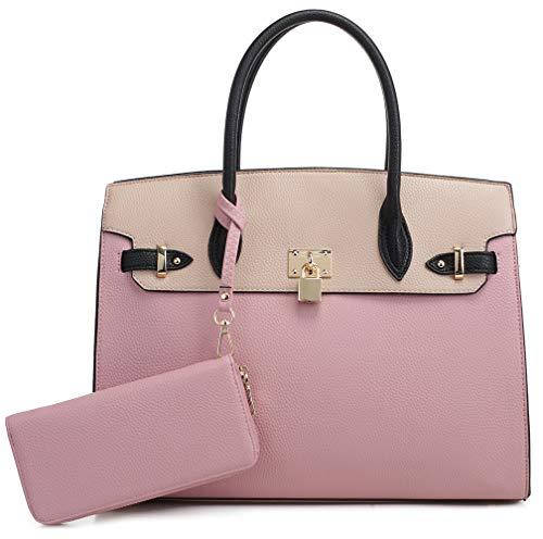 DELUXITY Women's Designer Top Handle Satchel Handbag Tote Bag Briefcase 2pc set   Mauve/Beige