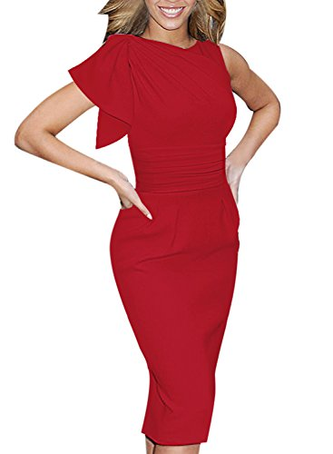 Party Wear Dresses - VfEmage Women's Celebrity Elegant Ruched Wear to Work Party Prom Bodycon Dress 1157 Red 14