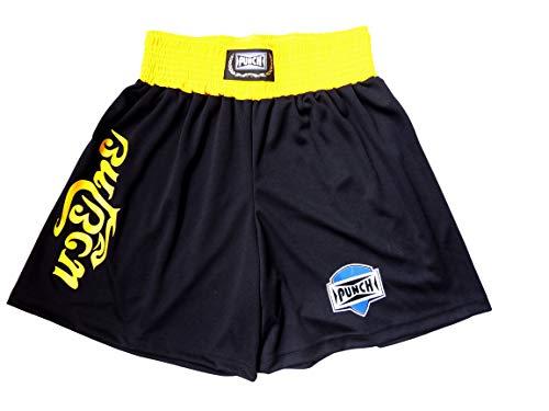 Shorts Muay Thai Com Silk Thai - Extra Grande Punch Unissex Gg Preto Com Amarelo