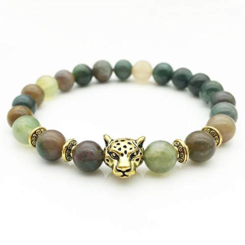 Decorative Stones - Indian Agate Tourmaline Crystal Bracelet Buddha Beads Natural Stone Made Tibetan Gold Silver Leopard Head Bracelet Nice Gifts