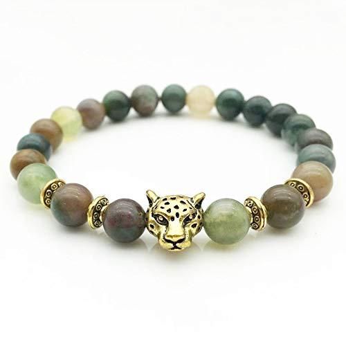 Decorative Stones - Indian Agate Tourmaline Crystal Bracelet Buddha Beads Natural Stone Made Tibetan Gold Silver Leopard Head Bracelet Nice Gifts