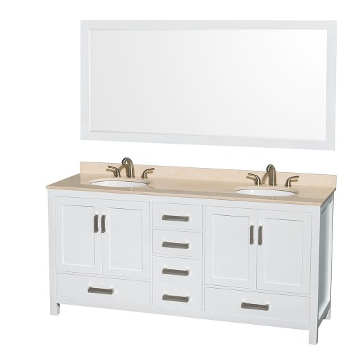 UPC 700253902839, Wyndham Collection Sheffield 72 inch Double Bathroom Vanity in White, Ivory Marble Countertop, Undermount Oval Sinks, and 70 inch Mirror