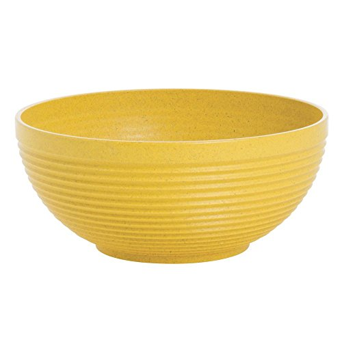 Serving Bowl Yellow Maple Wood and Plastic Fiber Eco-Friendly - 7 1/2 Dia x 3 1/4 H - Fiber Art Bowl
