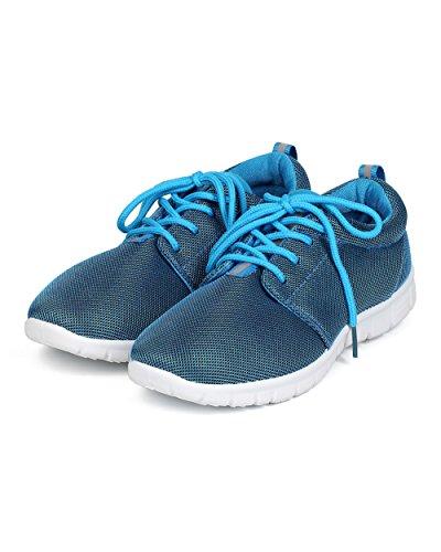 Uppdatera Ed26 Kvinnor Mesh Rund Tå Tyg Spets Upp Crosstraining Sneaker Blå