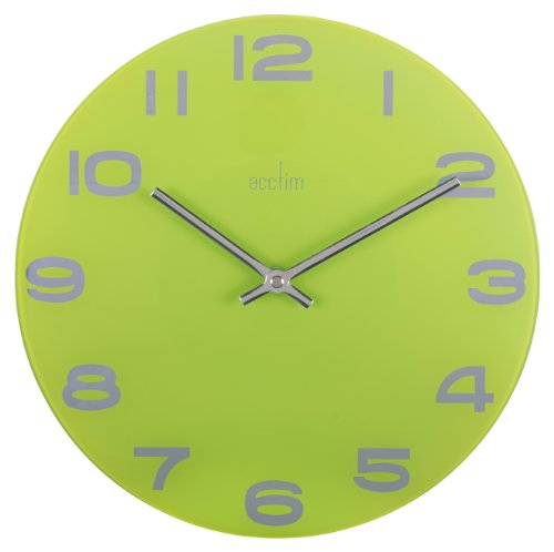 Acctim Mika Glass Wall Clock 30cm Lime