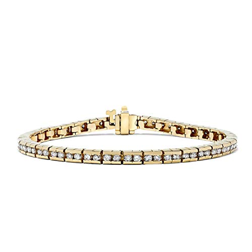 IGI Certified 3 Carat Diamond Channel Set Tennis Bracelet in 14k Yellow Gold(H-I, I1) ()