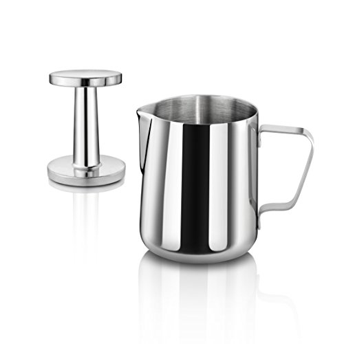 New Star Foodservice 28829 Commercial Grade Stainless Steel 18/8 12 oz Frothing Pitcher and Die Cast Aluminum Tamper Combo Set, Silver