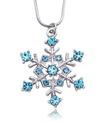 cocojewelry Aqua Snowflake Pendant Necklace Bridesmaid Christmas Holiday Jewelry