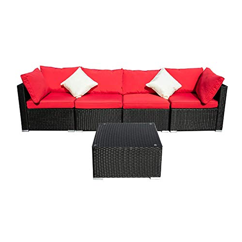 DOIT Outdoor Rattan Patio Garden Sofa,Wicker Patio Sectional Furniture Sofa Outside,Party Sofa Conversation Set with Cushions and Glass Coffee Table 5 Pcs Wicker Sofa Sets Red