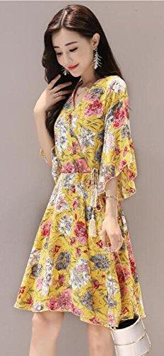 Ein Ärmel V Gelb Sommer Blumenkleid Trompete Wort Lang MoMo Taille dünn War Ausschnitt zC0Iq