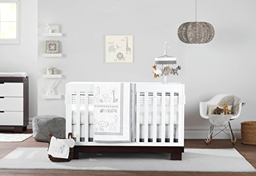 Just Born Animal Kingdom 3 Piece Crib Bedding Set, Safari/Jungle (Safari Nursery Bedding)