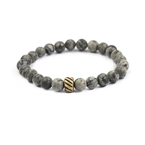 Natural Limestone (tom+alice 8MM Natural Semi-Gemstone Italy cloud limestone Men Beaded Stretch Bracelets Elastic String with Bone carving)